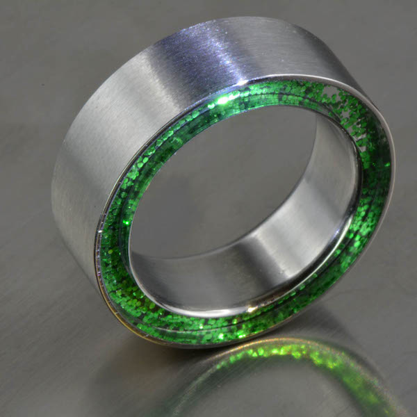 Steel-it-Disco, Edelstahlring, Acryl, Ringweite 65, Ref: DS-221